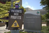 Protesters gather at Alta Bates Summit Medical Center to support patient safety